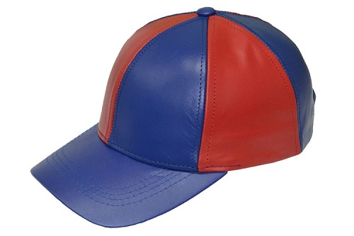 Red/Royal Patch Combo Leather Baseball Cap
