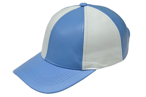 White/Sky Patch Combo Leather Baseball Cap