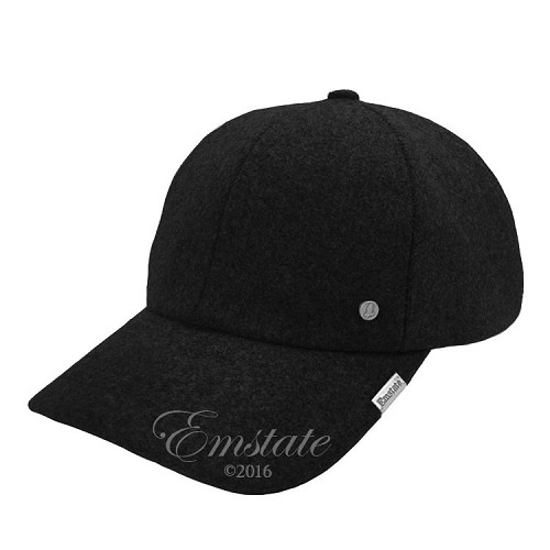 Emstate Black Melton Wool Baseball Cap