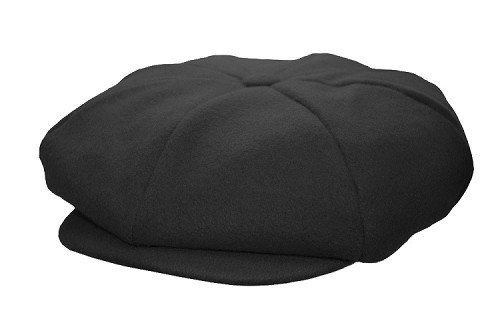 Black Melton Wool 8 Panel Applejack Newsboy One Size