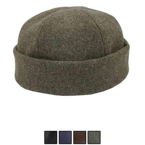 Emstate Melton Wool Skull Cap Beanie Charcoal Grey