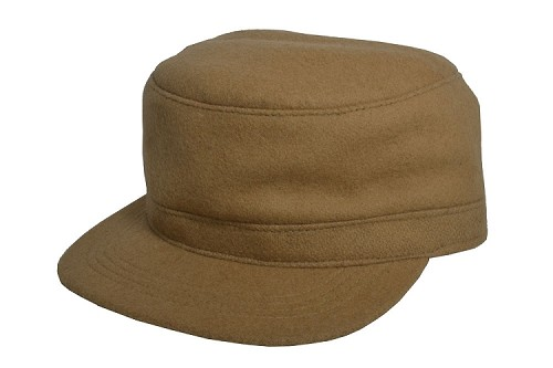 Fitted Wool Military Cadet Cap Camel