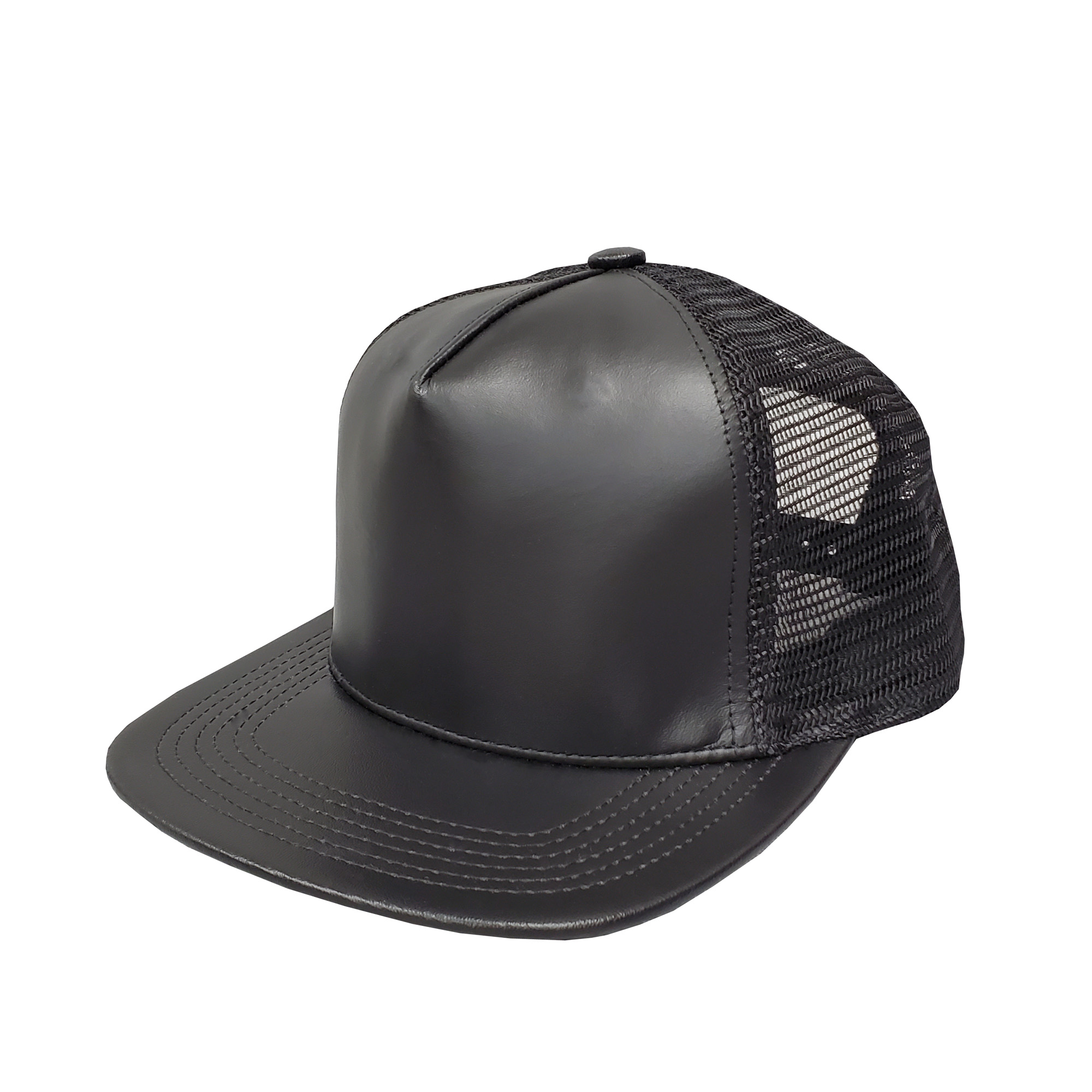 Black Leather High-Profile Mesh Cap