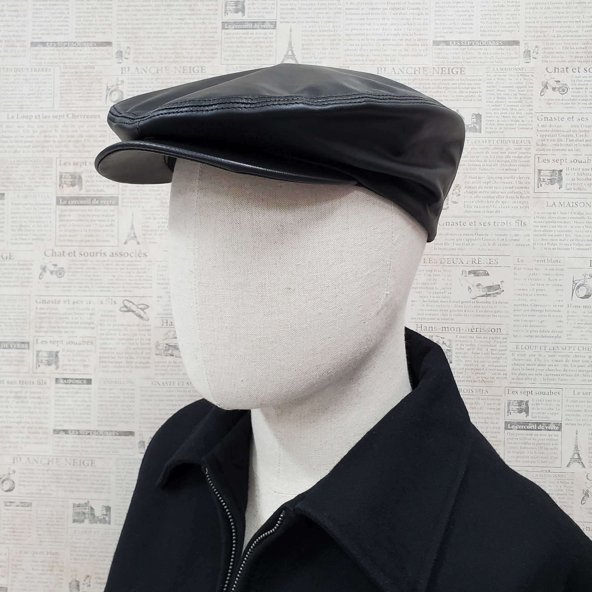 Black Traditional Cowhide Leather Ascot Ivy Driver Cap