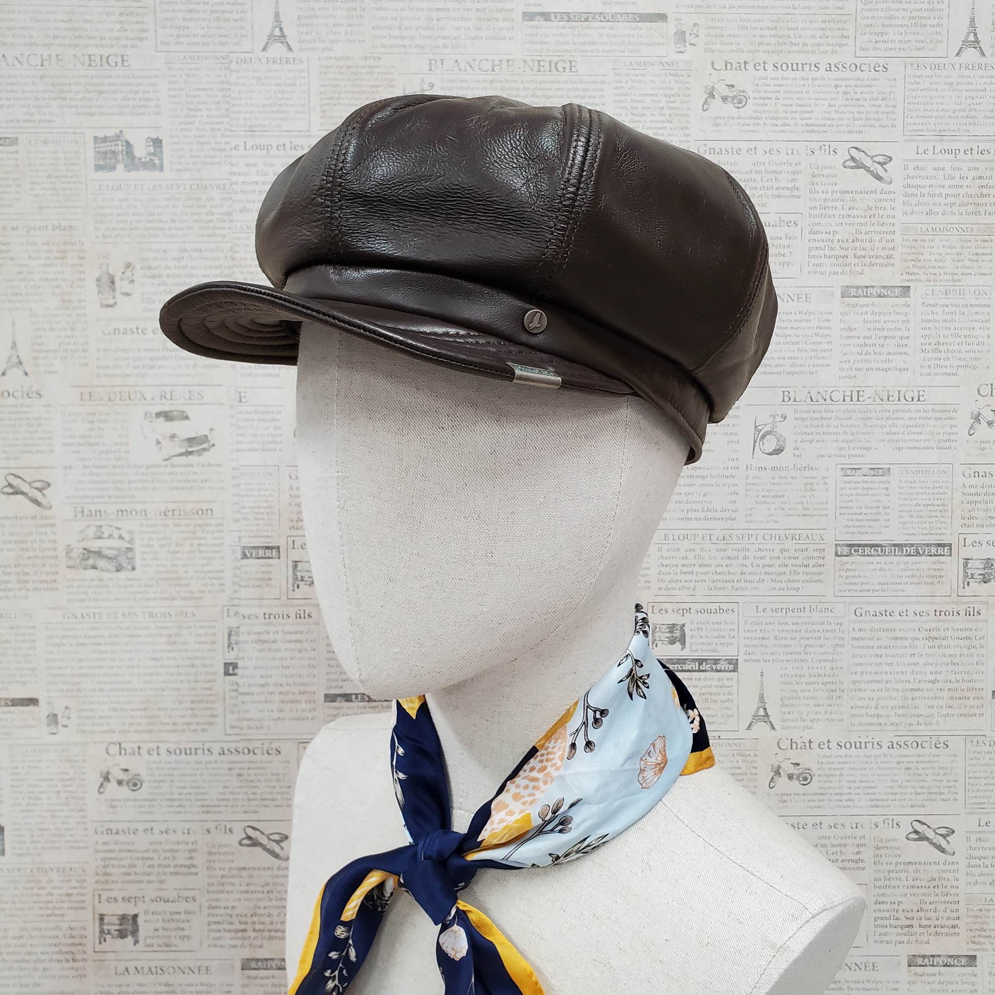 Dark Brown Lambskin Leather Newsboy Cap