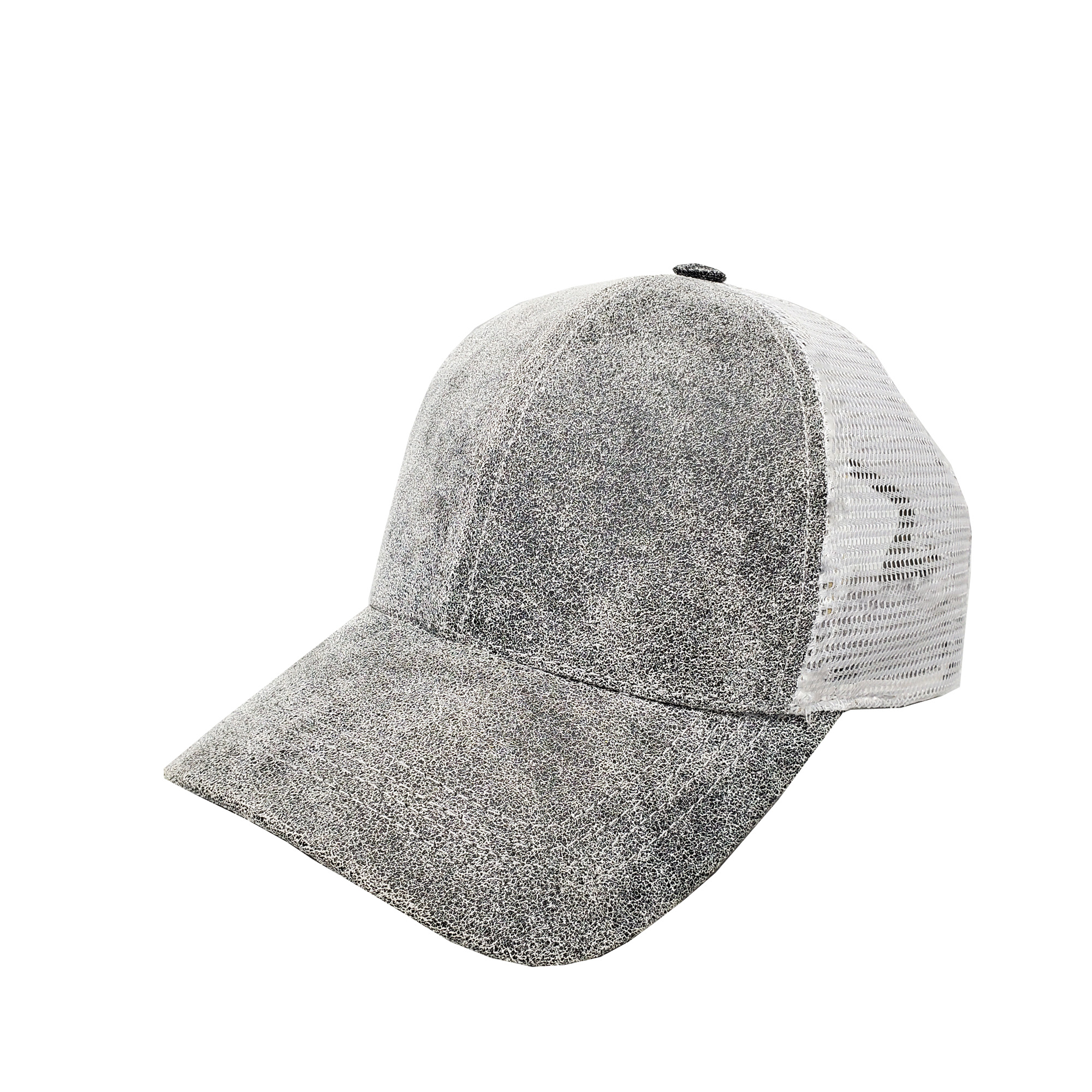 Distressed Grey Leather Mid-Profile Mesh Cap