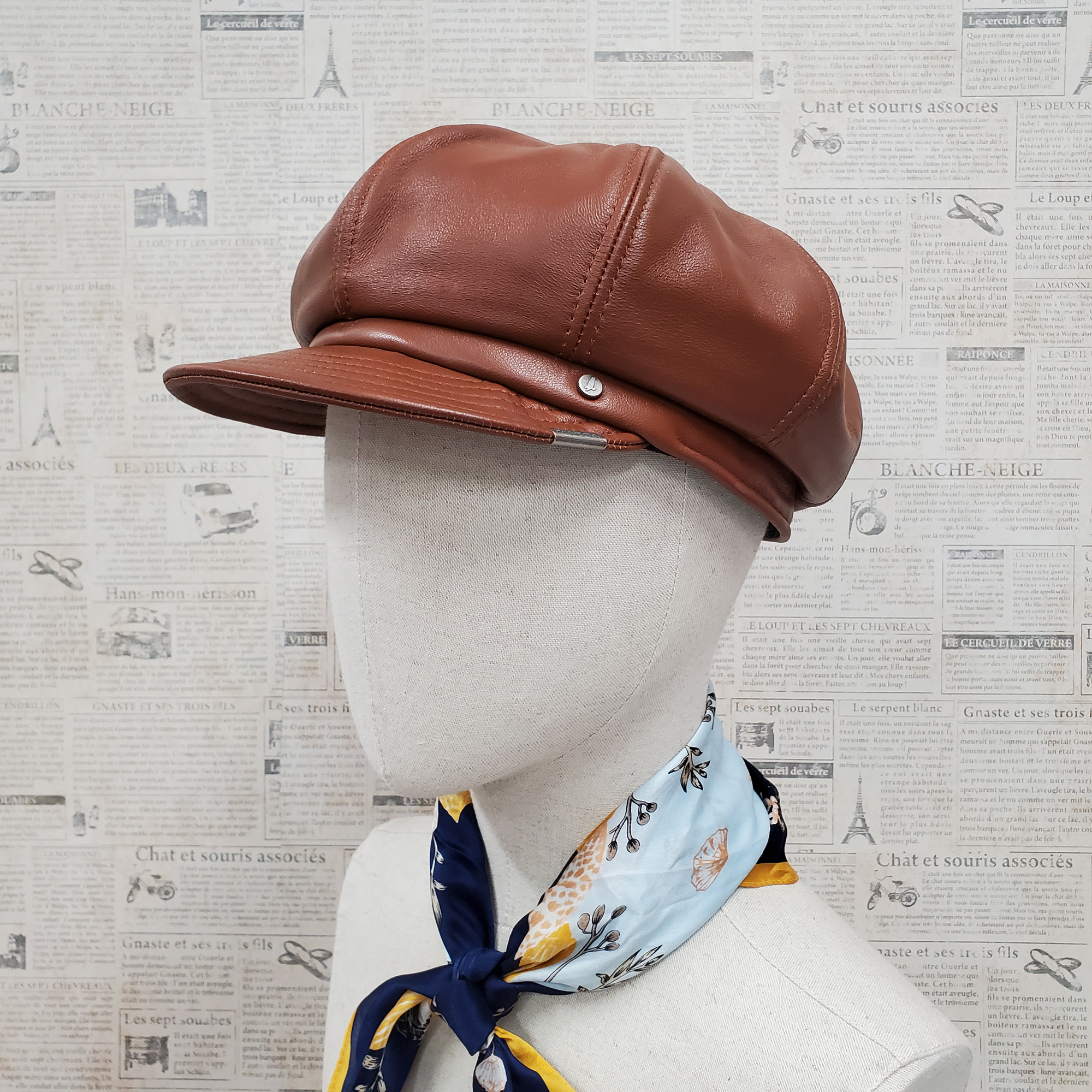 Light Brown Lambskin Leather Newsboy Cap
