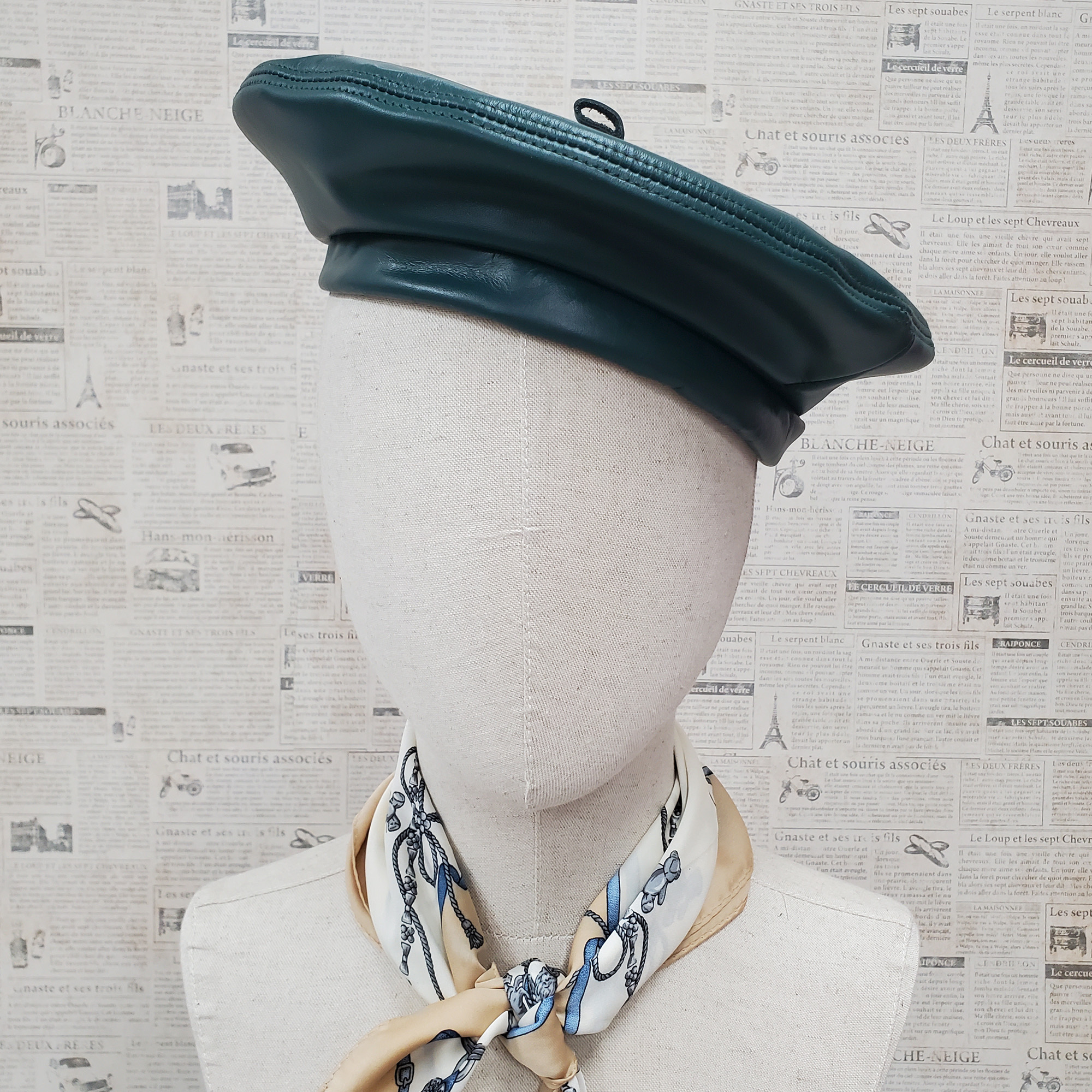 Hunter Green Genuine Leather Beret