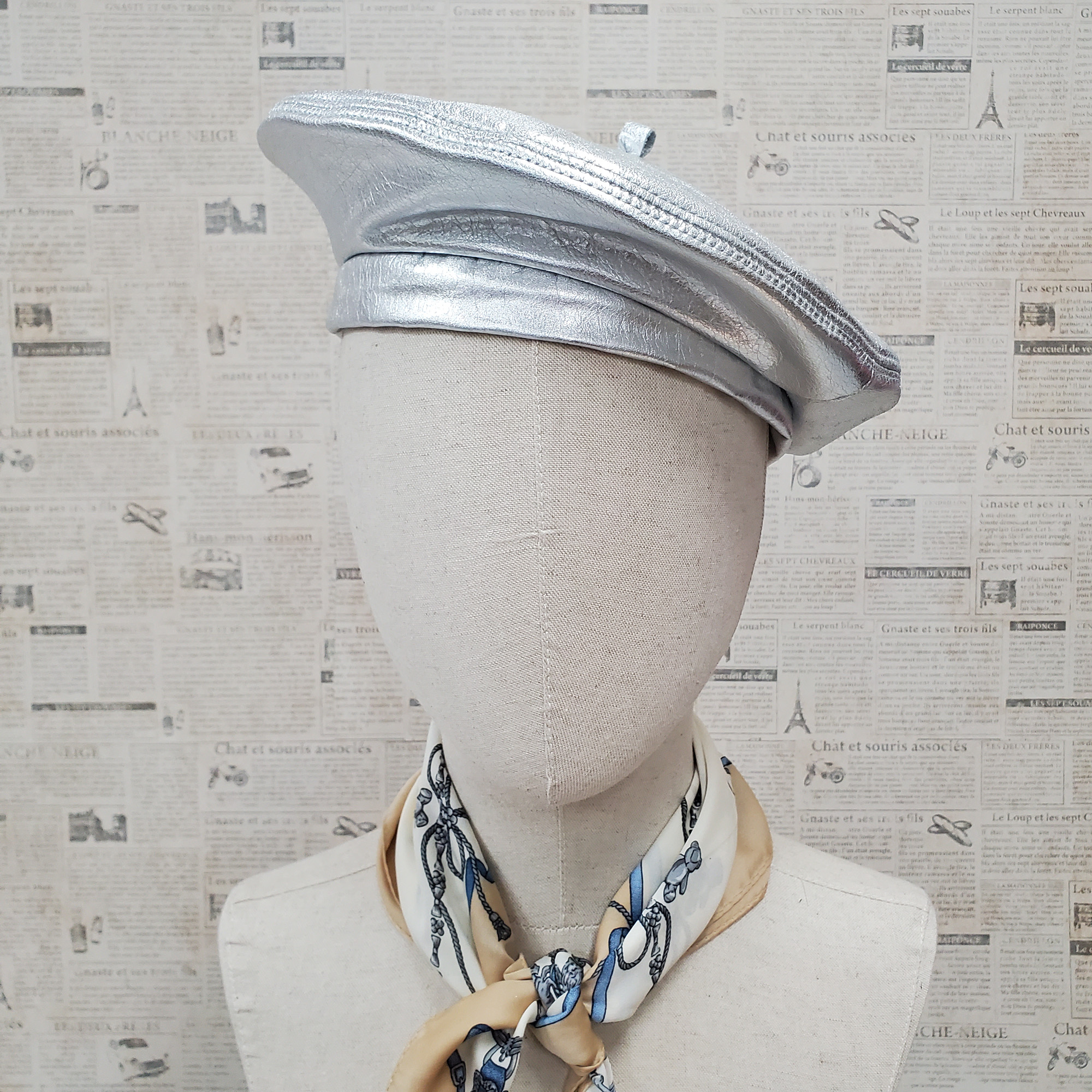 Metallic Silver Genuine Leather Beret