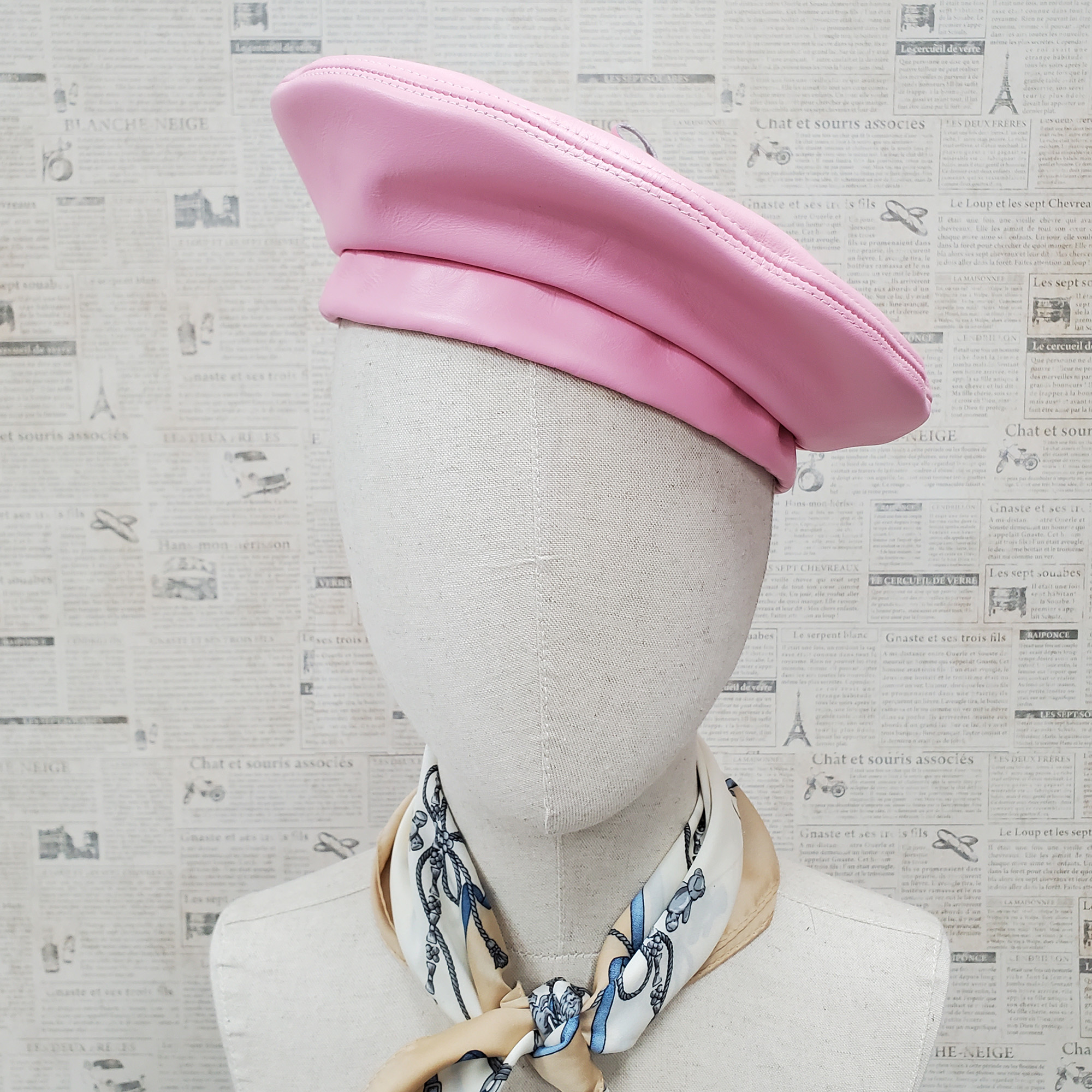 Pink Genuine Leather Beret