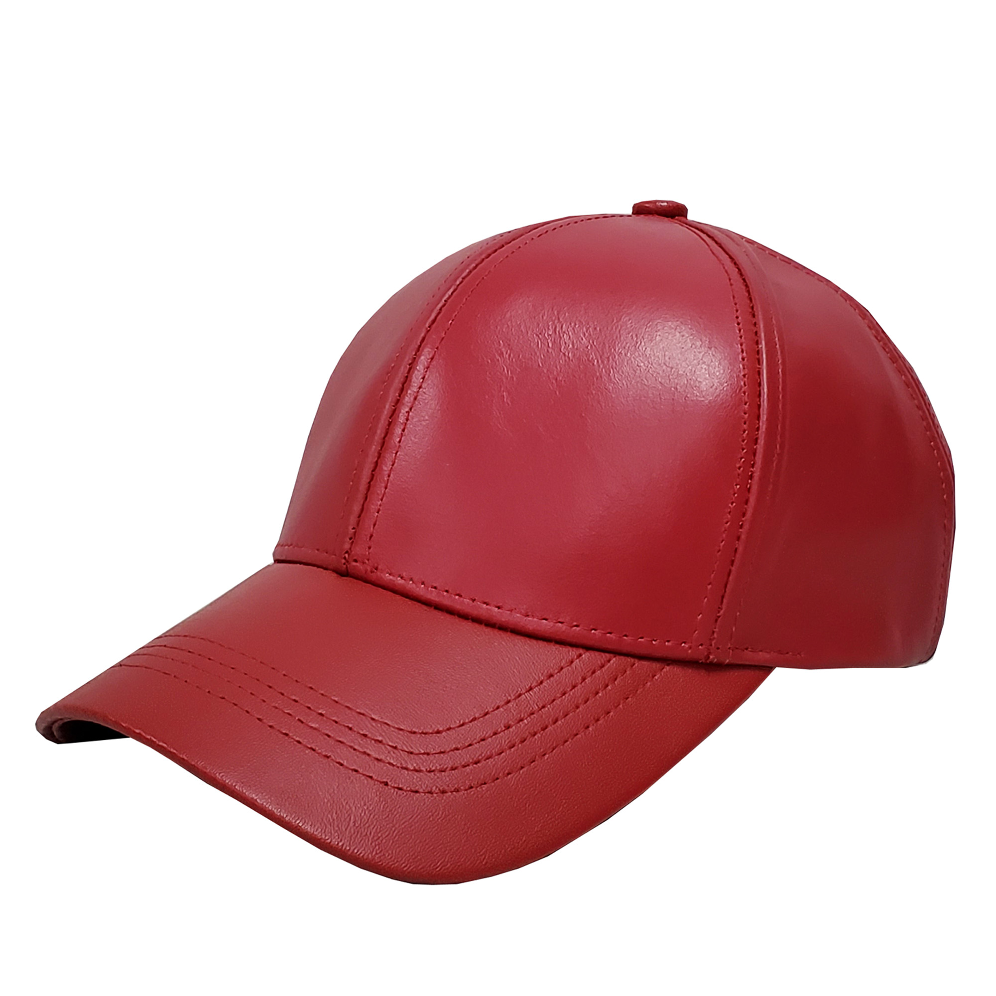 Red Leather Baseball Cap
