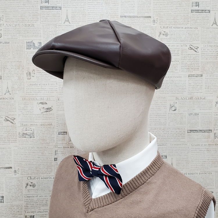 Brown Cowhide Leather Apple Newsboy Cap