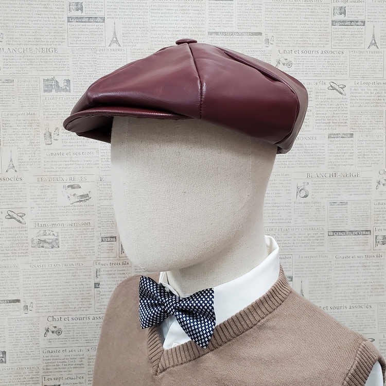 Burgundy Cowhide Leather Apple Newsboy Cap