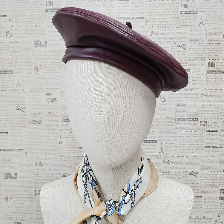 Burgundy Genuine Leather Beret