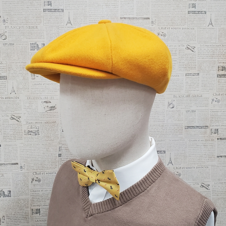 Gold Wool Apple Newsboy Cap