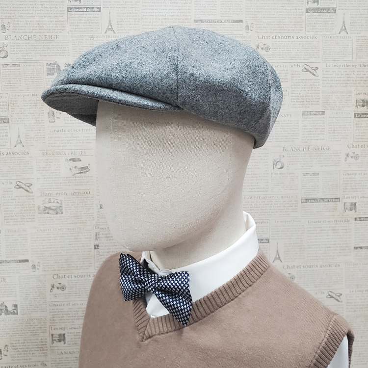 Heather Grey Wool Apple Newsboy Cap