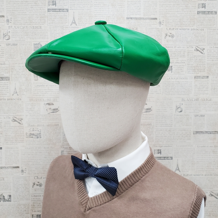 Kelly Green Cowhide Leather Apple Newsboy Cap