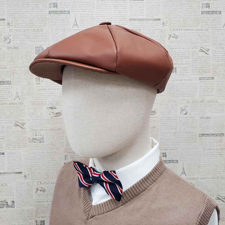 Light Brown Cowhide Leather Apple Newsboy Cap