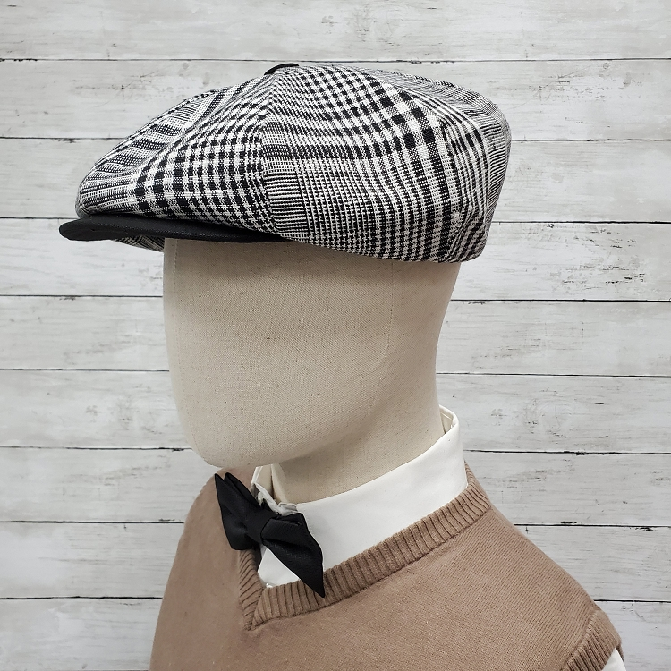 Brown Patch Linen Apple Newsboy Cap