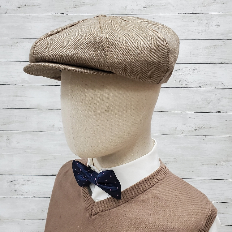 Brown Herringbone Linen Apple Newsboy Cap