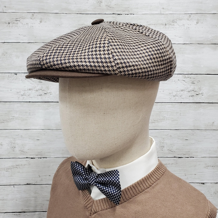 Brown Houndstooth Linen Apple Newsboy Cap
