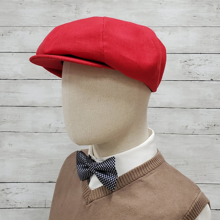 Red Linen Apple Newsboy Cap