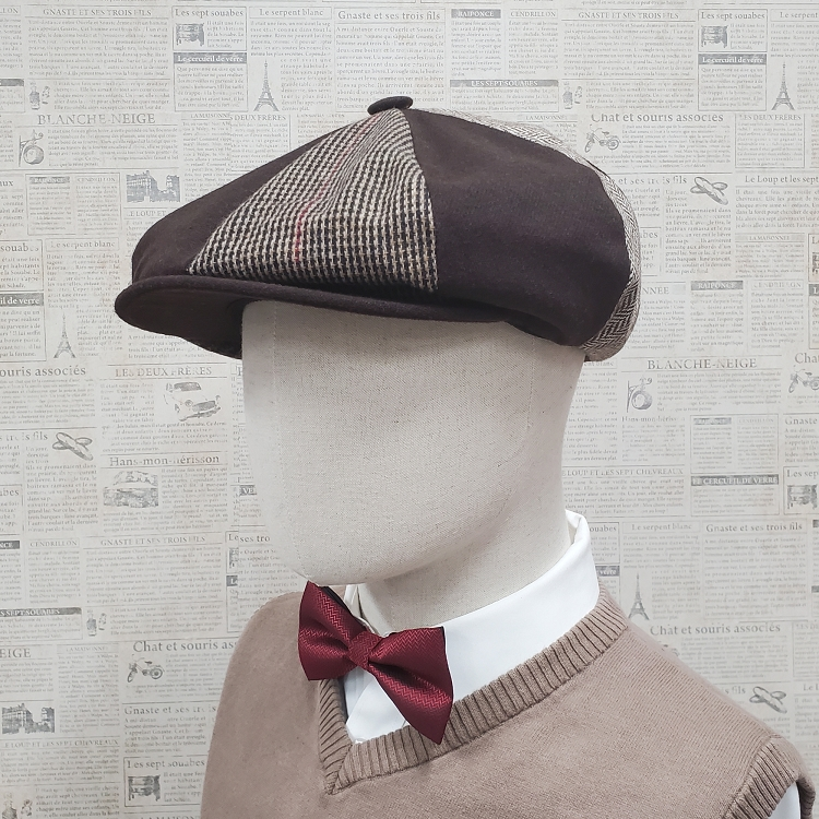 Brown Patch Combo Melton Wool Big Applejack Cap