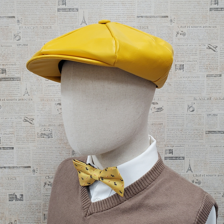 Yellow Cowhide Leather Apple Newsboy Cap