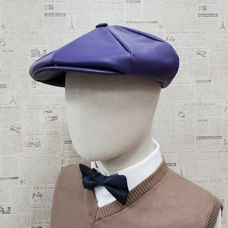 Purple Cowhide Leather Apple Newsboy Cap