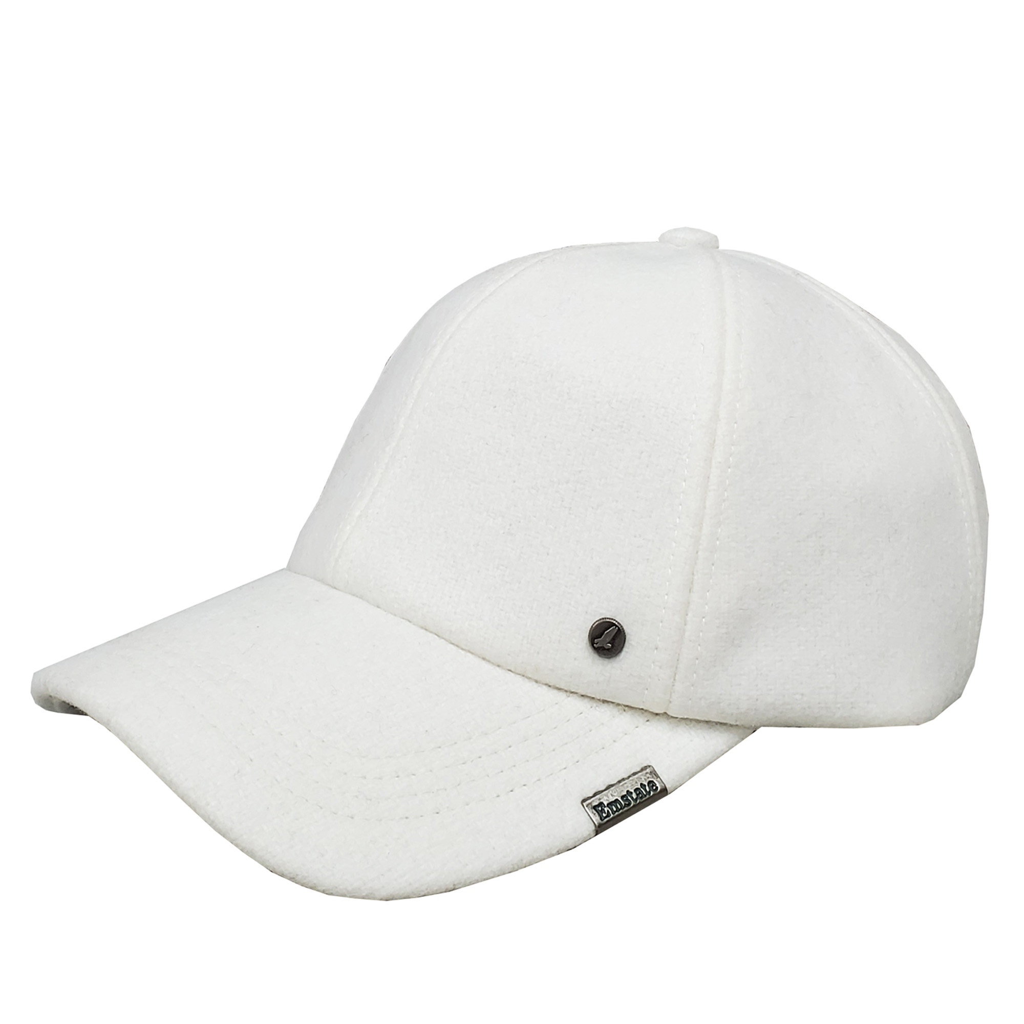 Emstate White Melton Wool Baseball Cap