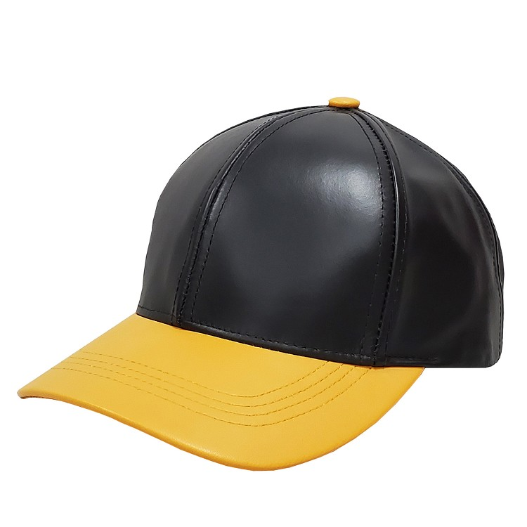 Black Gold Two Tone Cowhide Leather Baseball Cap