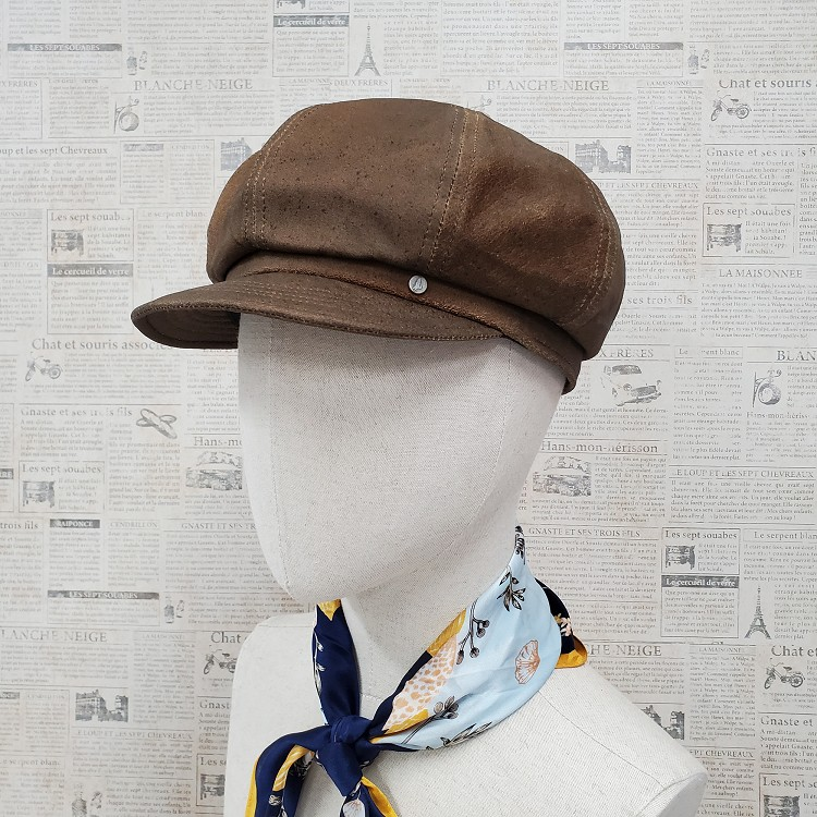 Vintage Distressed Brown Leather Newsboy Cap