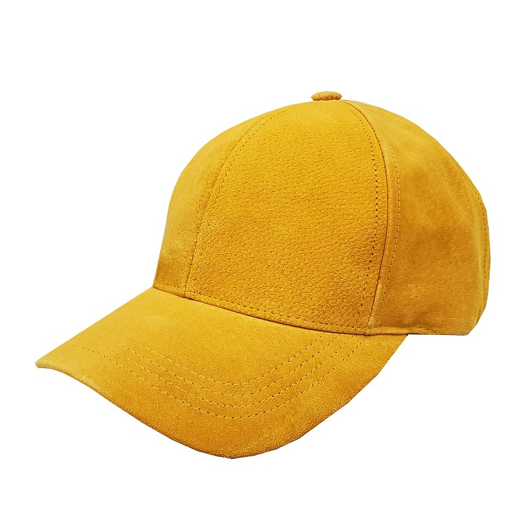 Gold Suede Leather Baseball Cap