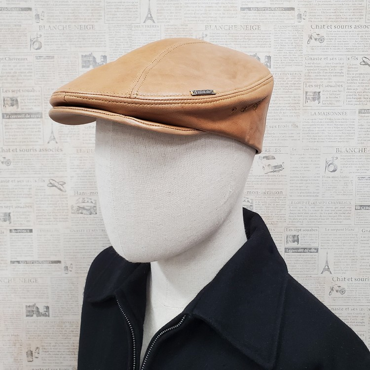 Honey Lambskin Leather Ascot Ivy Driver Cap