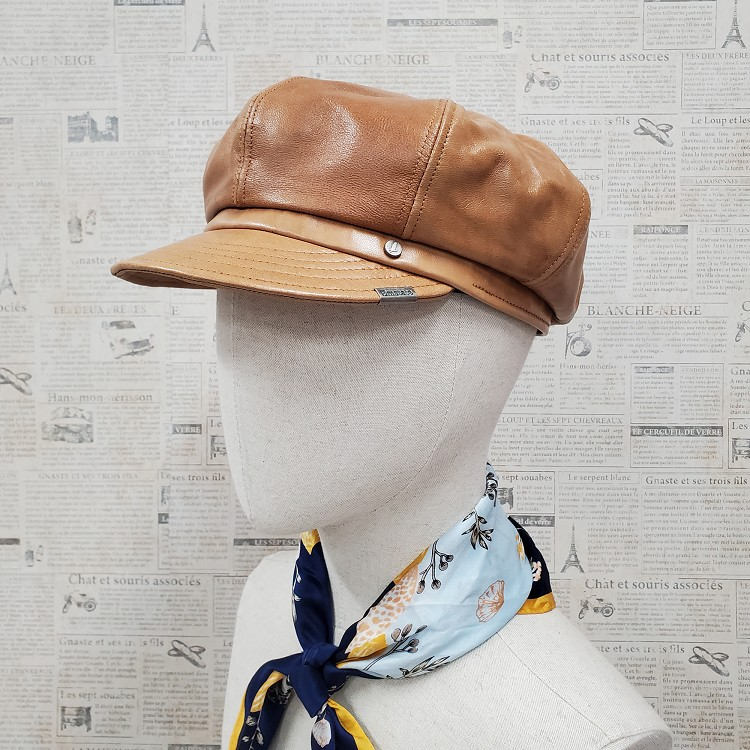 Honey Lambskin Leather Newsboy Cap