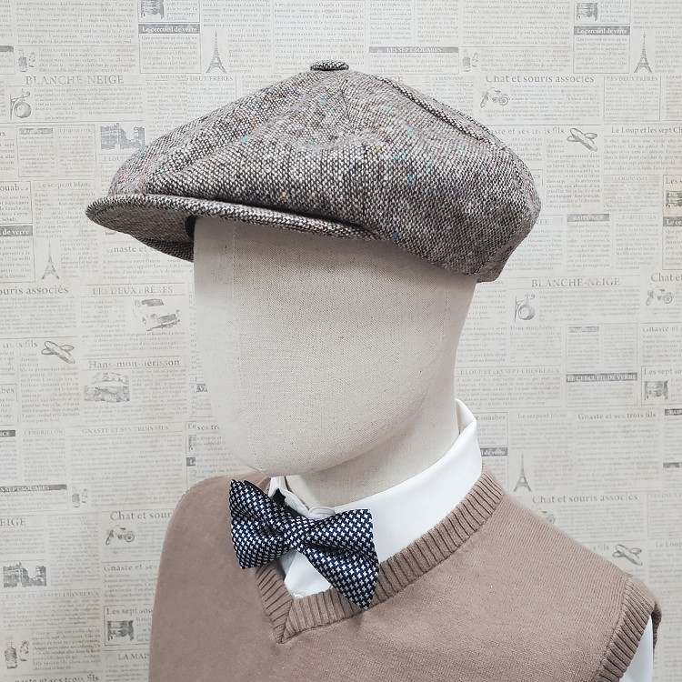 Brown Tweed Wool Apple Newsboy Cap