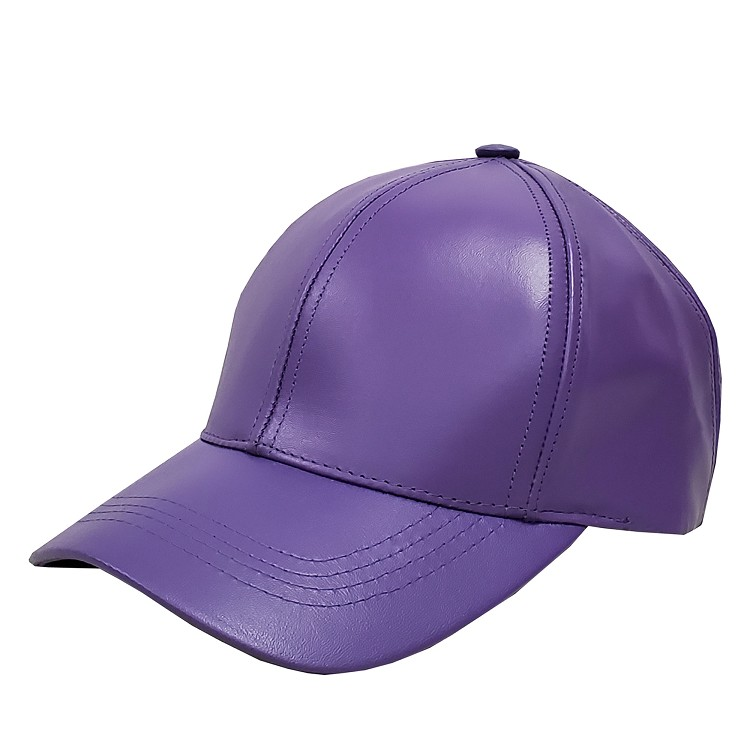 Purple Leather Baseball Cap